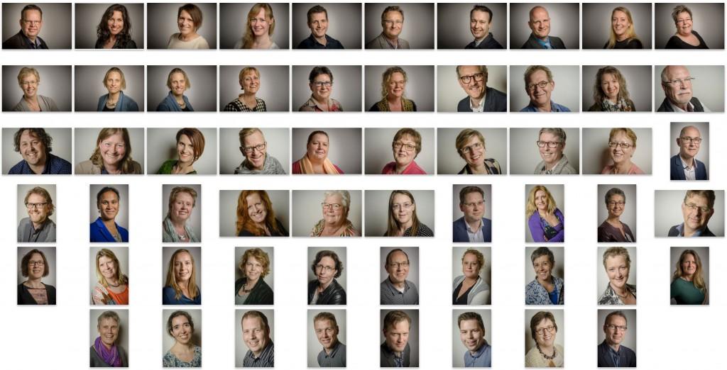 De portretten die mijn collega en ik die dag maakten.