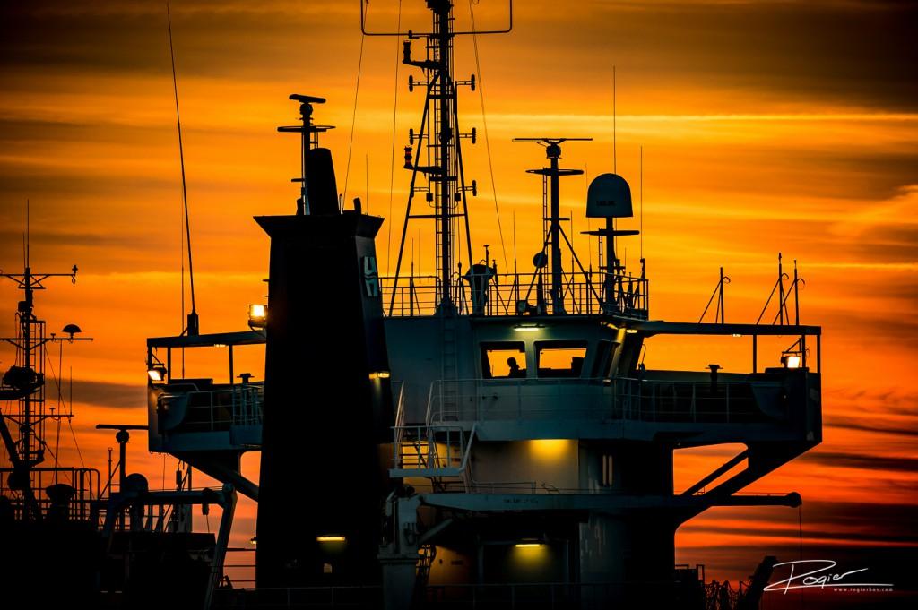 Haven Rotterdam onderdaande zon-14