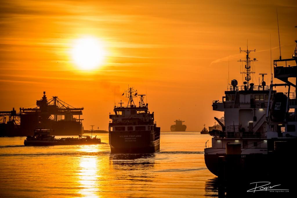 Haven Rotterdam onderdaande zon-3