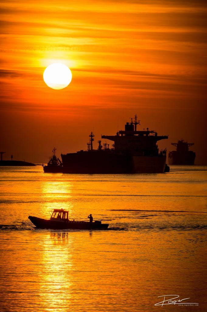 Haven Rotterdam onderdaande zon-5